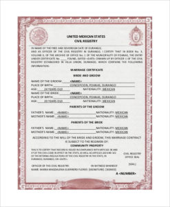 Free 16+ Sample Marriage Certificates In Pdf | Ms Word with Unique Mexican Marriage Certificate Translation Template