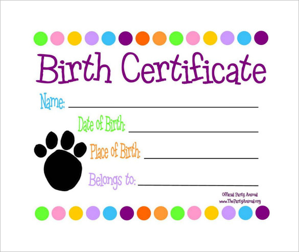 Free 17+ Birth Certificate Templates In Ai | Indesign | Ms in Cat Birth Certificate Free Printable