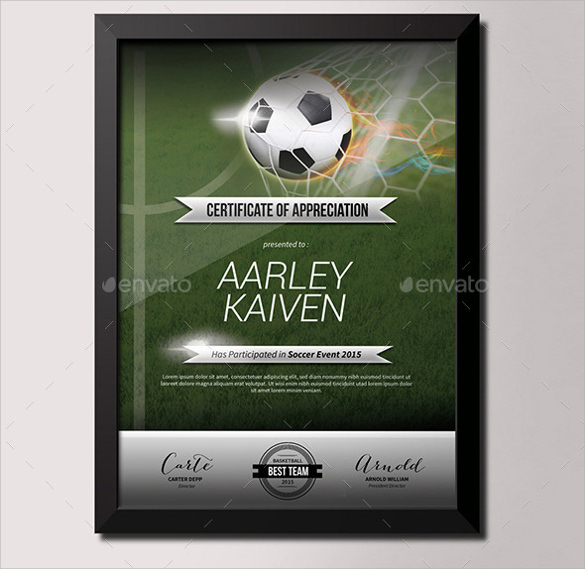 Free 17+ Soccer Certificate Templates In Psd | Ai | Indesign within New Soccer Certificate Templates For Word