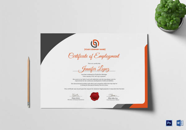 Free 19+ Sample Employment Certificate Templates In Pdf | Psd for New Certificate Of Employment Templates Free 9 Designs