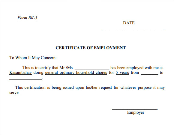 Free 19+ Sample Employment Certificate Templates In Pdf   Psd within New Certificate Of Employment Template