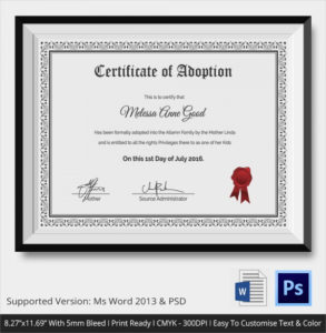 Free 23+ Sample Adoption Certificates In Ai | Indesign | Ms in Child Adoption Certificate Template