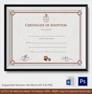 Free 23+ Sample Adoption Certificates In Ai | Indesign | Ms throughout Fresh Child Adoption Certificate Template Editable