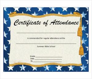 Free 23+ Sample Attendance Certificate Templates In Ai with Perfect Attendance Certificate Template Editable