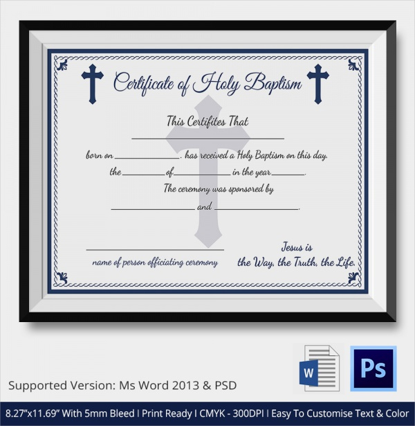 Free 23+ Sample Baptism Certificate Templates In Pdf | Ms Within Best Christian Baptism Certificate Template