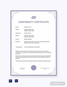 Free 23+ Sample Certificate Of Conformance In Pdf | Ms Word within Conformity Certificate Template