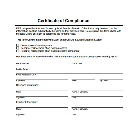 Free 25+ Sample Certificate Of Compliance In Pdf | Psd | Ai in Fresh Certificate Of Compliance Template