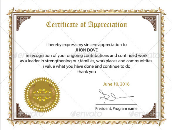 Free 34+ Sample Certificate Of Appreciation Templates In Pdf with regard to Best Free Employee Appreciation Certificate Template