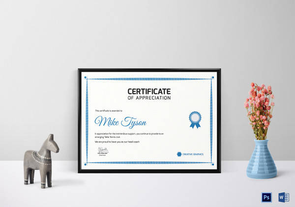 Free 35+ Best Printable Certificate Of Appreciation pertaining to Table Tennis Certificate Templates Free 10 Designs