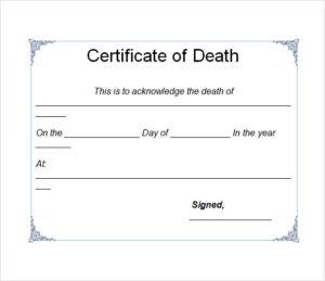 Free 4+ Useful Sample Death Certificate Templates In Pdf throughout Blank Death Certificate Template 7 Documents