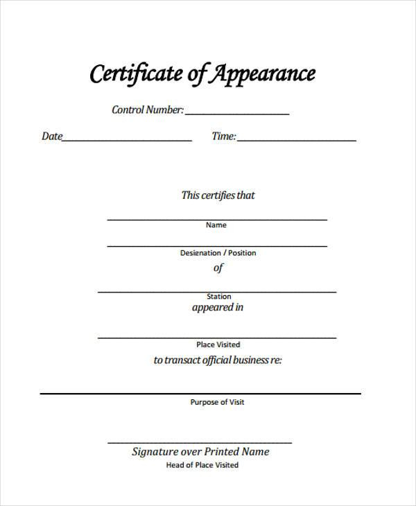 Free 42+ Sample Certificate Forms In Pdf | Excel | Ms Word Regarding Certificate Of Appearance Template