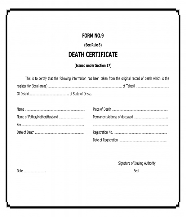 Free 5+ Death Certificate Forms In Pdf | Ms Word Throughout Blank Death Certificate Template 7 Documents