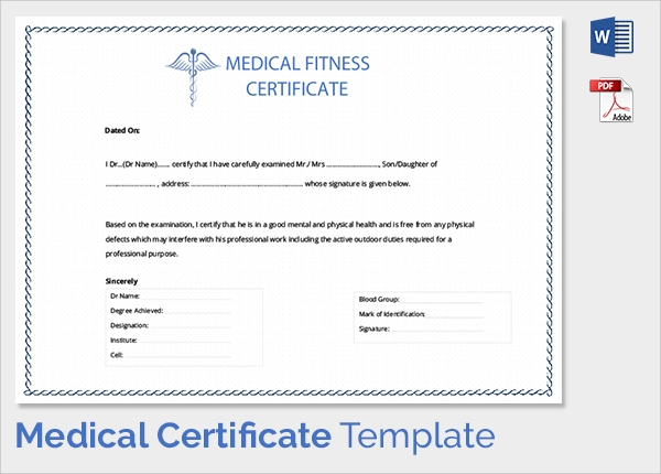 Free 54+ Sample Medical Certificates In Pdf | Ms Word with Physical Fitness Certificate Template Editable