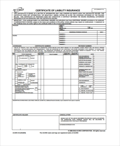 Free 6+ Sample Certificate Of Liability Insurance Forms In for Quality Certificate Of Insurance Template
