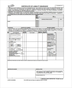Free 6+ Sample Certificate Of Liability Insurance Forms In regarding New Certificate Of Liability Insurance Template