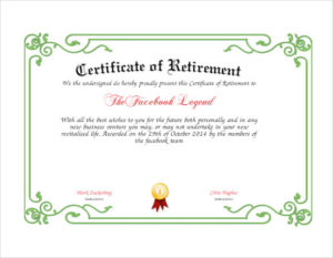 Free 7+ Sample Retirement Certificate Templates In Pdf | Ms intended for Farewell Certificate Template