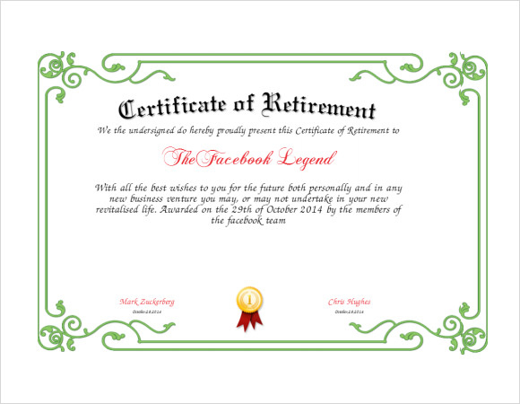 Free 7+ Sample Retirement Certificate Templates In Pdf   Ms intended for Farewell Certificate Template
