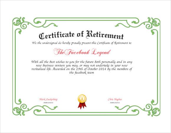 Free 7+ Sample Retirement Certificate Templates In Pdf | Ms with New Retirement Certificate Templates