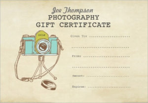 Free 9+ Sample Attractive Photography Gift Certificate pertaining to Quality Printable Photography Gift Certificate Template