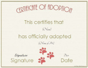 Free Adoption Certificate Template – Customize Online pertaining to New Pet Adoption Certificate Template Free 23 Designs