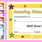 Free! – Amazing Attendance Award Certificate – Template – Twinkl For Perfect Attendance Certificate Template Free