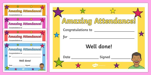 Free! - Amazing Attendance Award Certificate - Template - Twinkl for Perfect Attendance Certificate Template Free