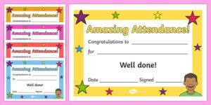 Free! – Amazing Attendance Award Certificate – Template – Twinkl regarding Perfect Attendance Certificate Free Template