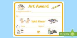 Free! – Art Award Certificate Template | Primary Classes in Quality Art Award Certificate Template