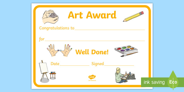 Free! - Art Award Certificate Template | Primary Classes in Quality Art Award Certificate Template