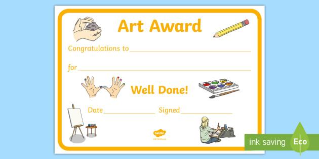Free! - Art Award Certificate Template | Primary Classes inside Free Art Certificate Templates