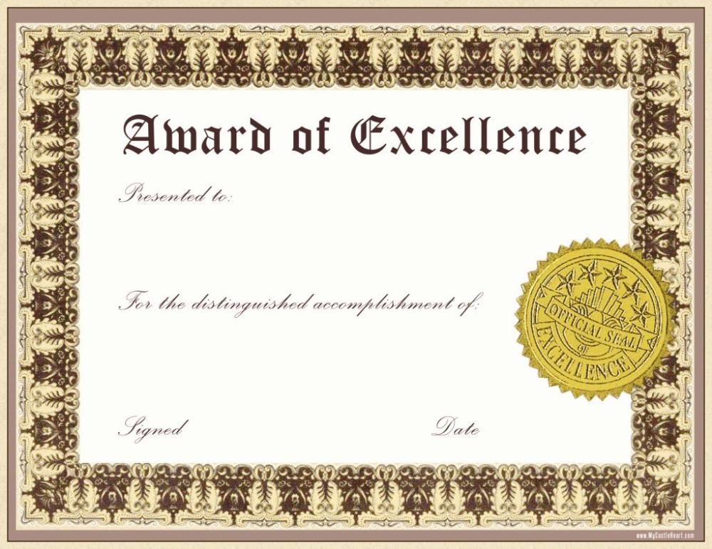 Free Award Certificate Templates Culturatti With Award Of for Quality Art Award Certificate Free Download 10 Concepts