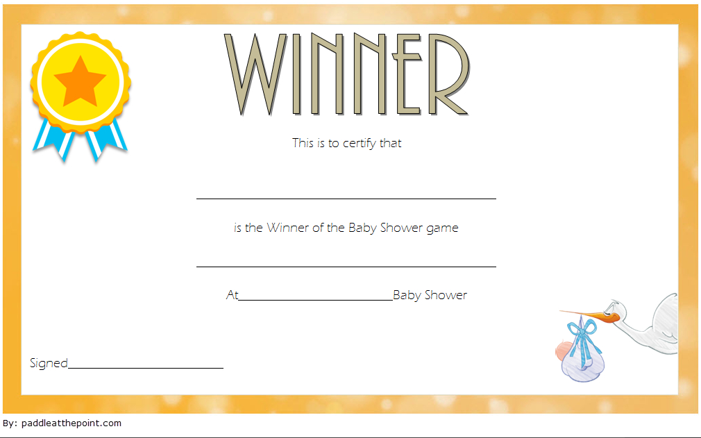 Free Baby Shower Game Winner Certificate Template 2 | Free in New Baby Shower Game Winner Certificate Templates
