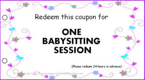 Free Babysitting Coupons Printable-Pinned for New Babysitting Certificate Template 8 Ideas
