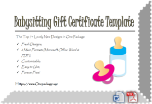 Free Babysitting Gift Certificate Template | Gift in New Babysitting Certificate Template 8 Ideas