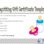 Free Babysitting Gift Certificate Template | Gift Pertaining To Baby Shower Gift Certificate Template Free 7 Ideas