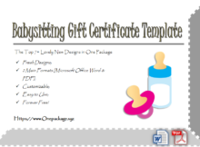Free Babysitting Gift Certificate Template | Gift regarding Best 7 Babysitting Gift Certificate Template Ideas