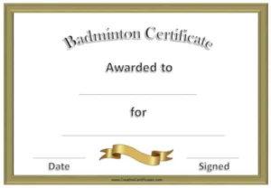 Free Badminton Certificate Template – Customize Online in Unique Badminton Certificate Template