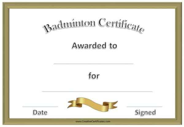Free Badminton Certificate Template - Customize Online throughout Badminton Certificate Templates