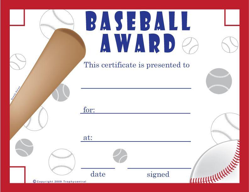 Free Baseball Certificates - Printable Baseball Certificate intended for Quality Baseball Award Certificate Template