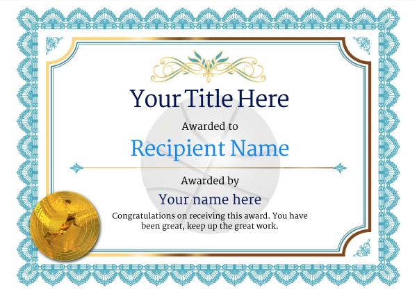 Free Basketball Certificate Templates - Add Printable Badges regarding Basketball Achievement Certificate Templates