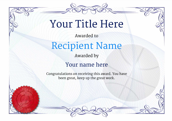 Free Basketball Certificate Templates - Add Printable Badges with regard to Basketball Achievement Certificate Templates