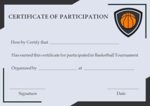 Free Basketball Participation Certificate | Participation in Best Basketball Participation Certificate Template