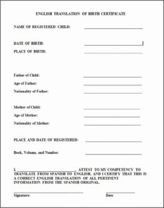 Free Birth Certificate Translation Template From Spanish To regarding Unique Marriage Certificate Translation From Spanish To English Template