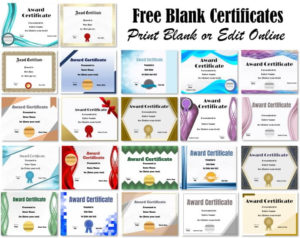 Free Blank Certificate – Print Blank Or Customize Online Free regarding New Free Printable Blank Award Certificate Templates