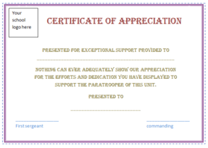 Free Certificate Of Appreciation Template (Purple Border for Employee Appreciation Certificate Template