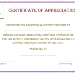 Free Certificate Of Appreciation Template (Purple Border Inside Employee Recognition Certificates Templates Free