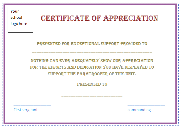 Free Certificate Of Appreciation Template (Purple Border pertaining to Best Free Employee Appreciation Certificate Template