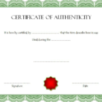 Free Certificate Of Authenticity For Autograph Template Inside Certificate Of Authenticity Free Template