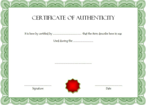 Free Certificate Of Authenticity For Autograph Template With Unique Authenticity Certificate Templates Free