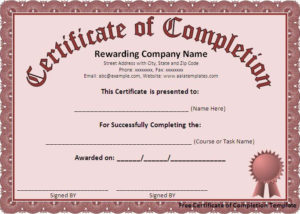 Free Certificate Of Completion Template – Free Formats Excel in Free Training Completion Certificate Templates